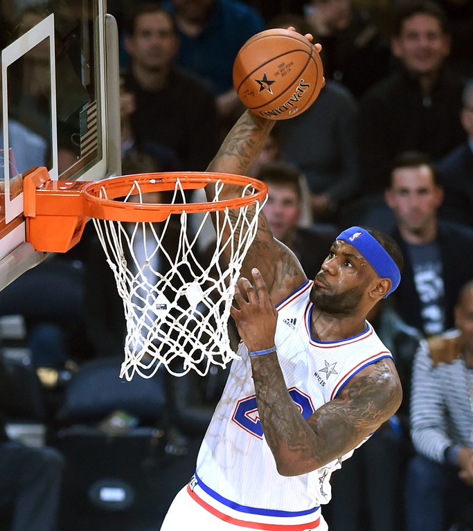 . East NBA All Star  LeBron James (Cavaliers) goes to the basket during the 64th NBA All-Star Game at Madison Square Garden in New York  February 15, 2015.    AFP PHOTO /  TIMOTHY  A. CLARYTIMOTHY A. CLARY/AFP/Getty Images