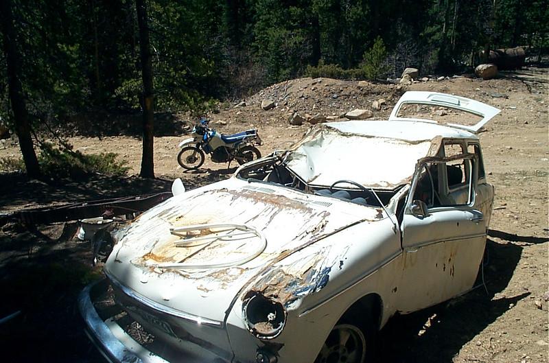 Crashed car on Ute Creek Road