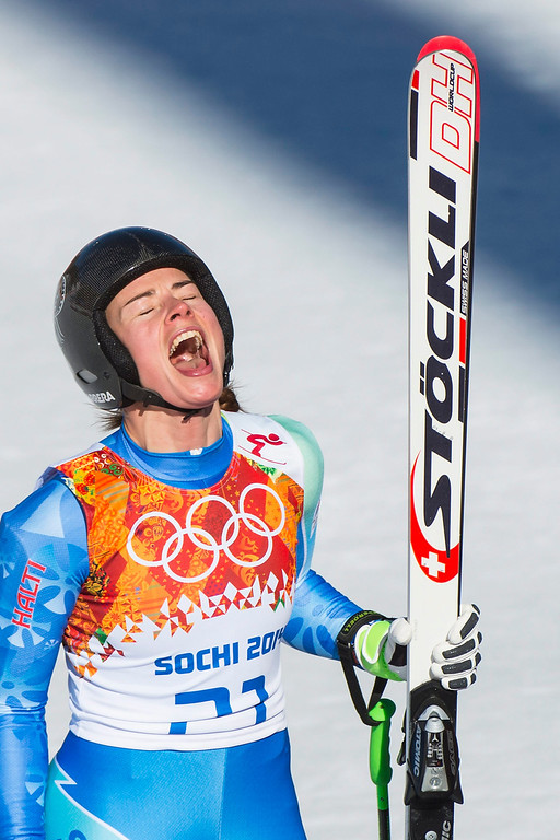 . Tina Maze of Slovenia reacts after her run in the Women\'s Downhill race at the Rosa Khutor Alpine Center during the Sochi 2014 Olympic Games, Krasnaya Polyana, Russia, 12 February 2014.  EPA/JEAN-CHRISTOPHE BOTT