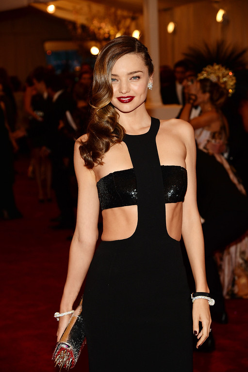 """. NEW YORK, NY - MAY 06:  Model Miranda Kerr attends the Costume Institute Gala for the \""""PUNK: Chaos to Couture\"""" exhibition at the Metropolitan Museum of Art on May 6, 2013 in New York City.  (Photo by Dimitrios Kambouris/Getty Images)"""