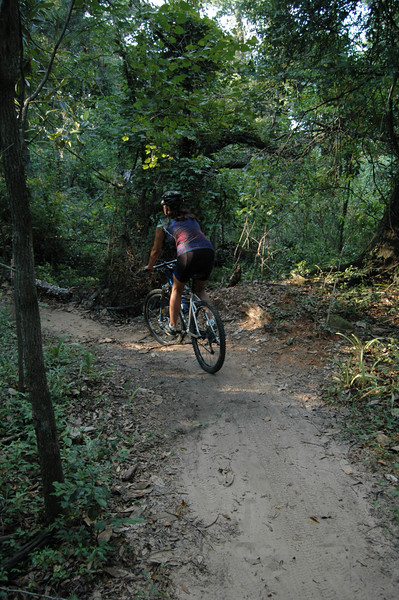 """Alicia near #7 in Magnolia Trail's """"highside"""" Ravine Loop section."""