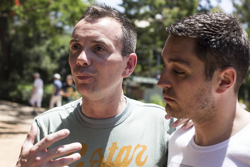 . The first French married gay couple, Vincent Autin (L) and his partner Bruno Boileau give an interview during the annual Tel Aviv Gay Pride parade on June 7, 2013 in Tel Aviv, Israel. (Photo by Ilia Yefimovich/Getty Images)