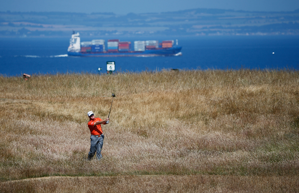 . D A Points of the United States hits his second shot on the 6th hole during the second round of the 142nd Open Championship at Muirfield on July 19, 2013 in Gullane, Scotland.  (Photo by Rob Carr/Getty Images)
