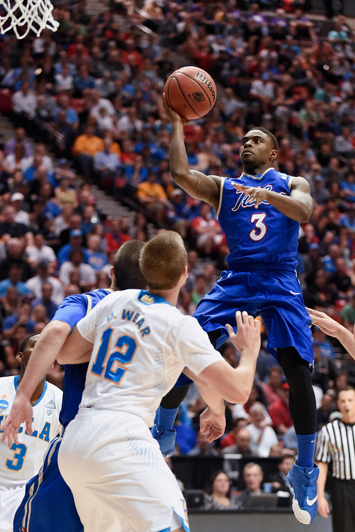 . Tulsa guard Rashad Ray shoots against UCLA during the first half of a second-round game in the NCAA men\'s college basketball tournament Friday, March 21, 2014, in San Diego. (AP Photo/Denis Poroy)