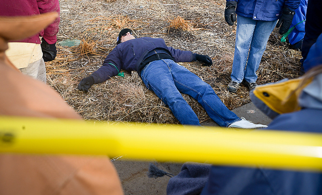 . Some victims appeared unconscious during the full-scale emergency preparedness exercise. (Pioneer Press: Ben Garvin)