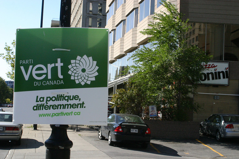 """We're not the only ones with major elections coming up. Come on, surely you knew that Canada is in the process of electing their next head of state?! OK, me neither. I just liked the looks of this sign. (Its message is """"Green Party of Canada. Politics, differently."""" )"""