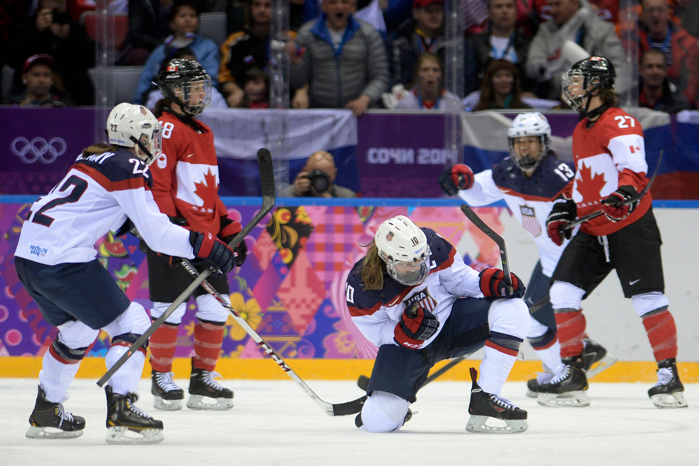 . Meghan Duggan (10) of the U.S.A. celebrates her 1-0 goal against Canada during the second period of the women\'s gold medal ice hockey game. Sochi 2014 Winter Olympics on Thursday, February 20, 2014 at Bolshoy Ice Arena. (Photo by AAron Ontiveroz/ The Denver Post)