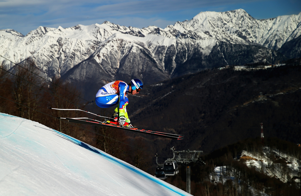 . Klemen Kosi of Slovenia competes during the Alpine Skiing Men\'s Super Combined Downhill on day 7 of the Sochi 2014 Winter Olympics at Rosa Khutor Alpine Center on February 14, 2014 in Sochi, Russia.  (Photo by Clive Rose/Getty Images)
