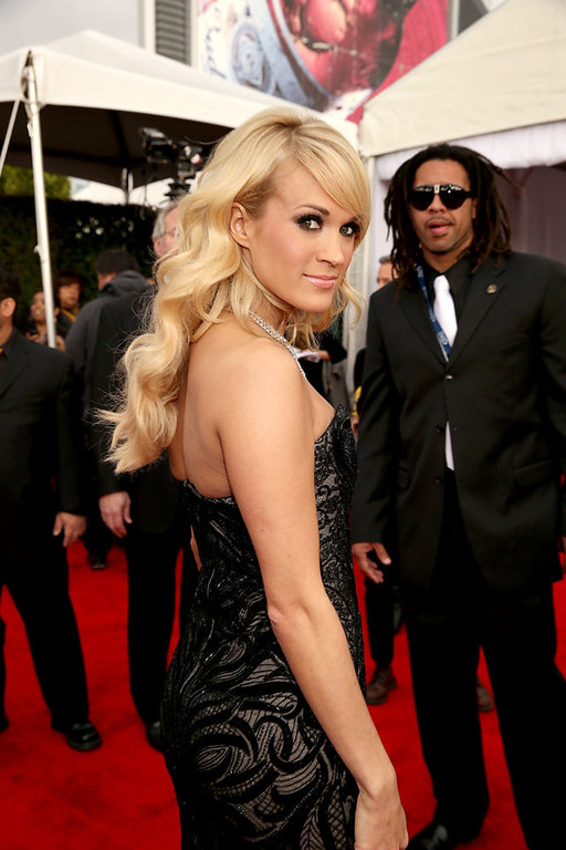 . Carrie Underwood arrives at the 55th Annual GRAMMY Awards on February 10, 2013 in Los Angeles, California.  (Photo by Christopher Polk/Getty Images for NARAS)