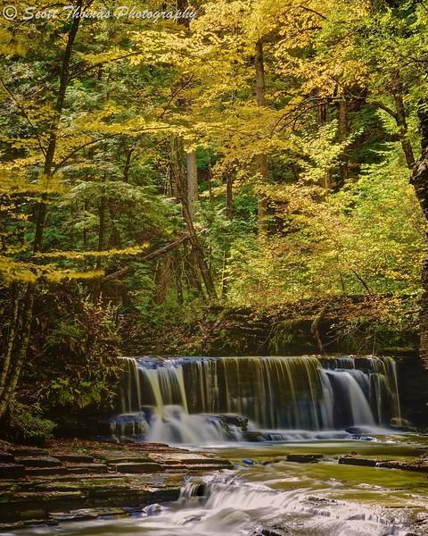 Upper Pinnacle Falls in Autumn at Fillmore Glen State Park near Moravia, New York.