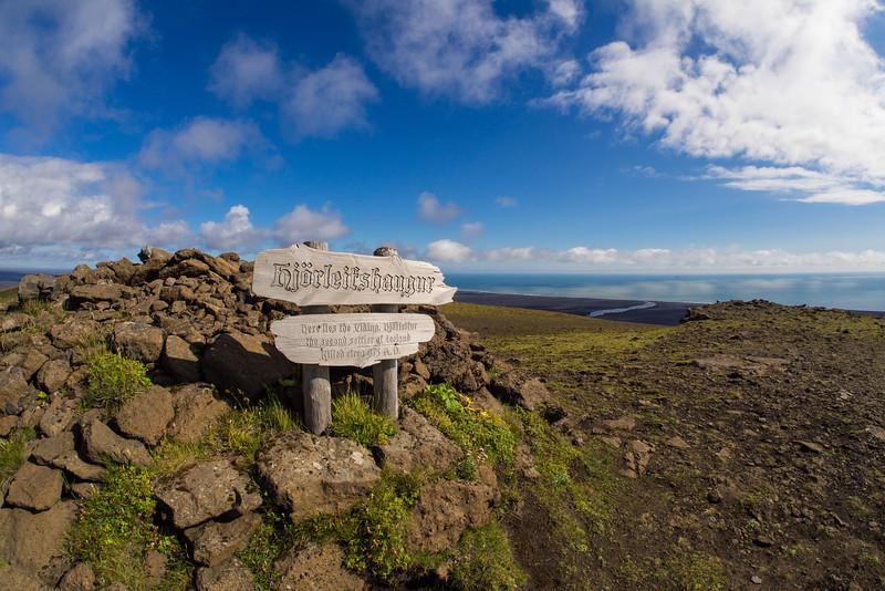 The burial mound of the second settler of Iceland, Hjörleifr Hródmarsson on Hjörleifshöfði.