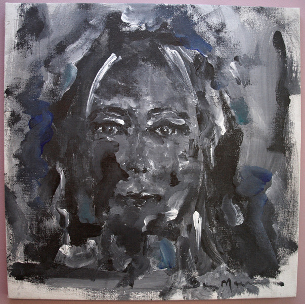 "1996, 24"" x 24"". Self Portrait, Acrylic on canvas."