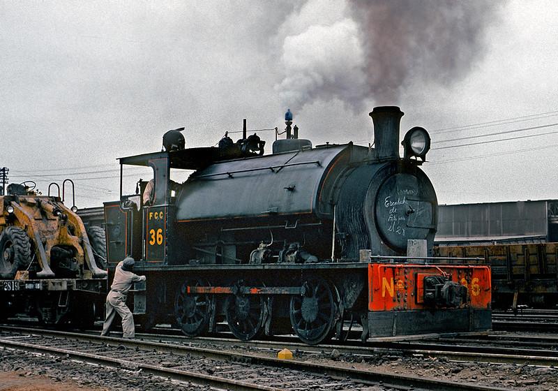 June 1976.  Steam at the Lima, Peru docks (Callao).