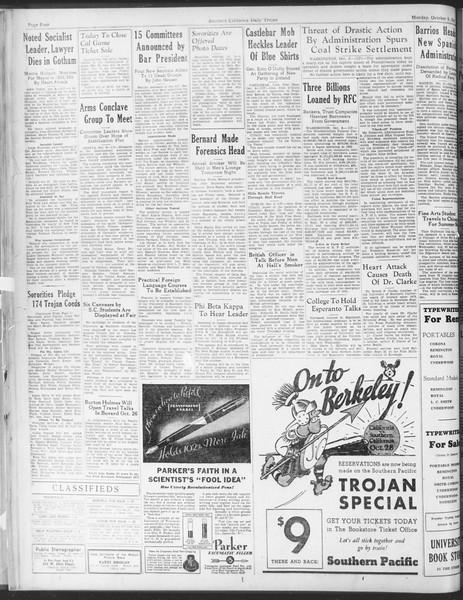 Daily Trojan, Vol. 25, No. 12, October 09, 1933