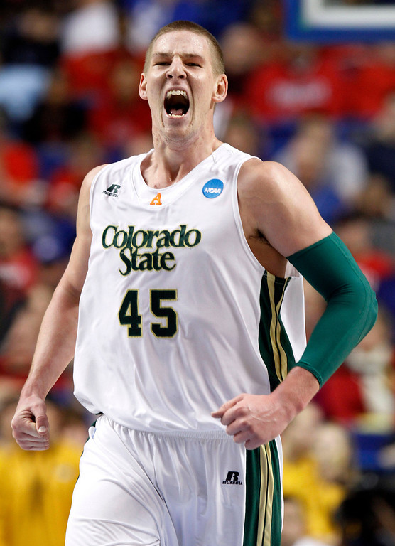 . Colorado State\'s Colton Iverson (45) reacts after a basket during the first half of their second-round NCAA college basketball tournament game against Missouri, Thursday, March 21, 2013, in Lexington, Ky. (AP Photo/James Crisp)