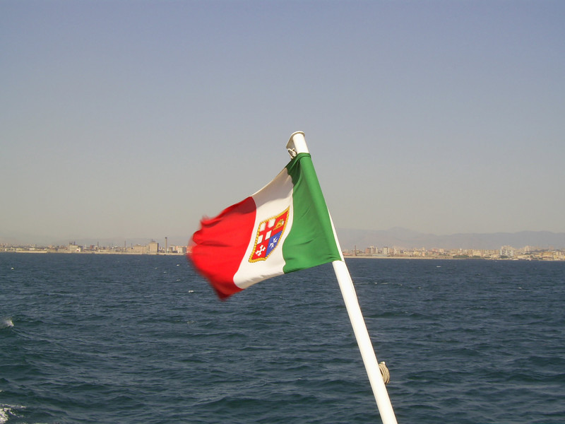 2007 - The flag of M/S SORRENTO JET in the Gulf of Napoli.