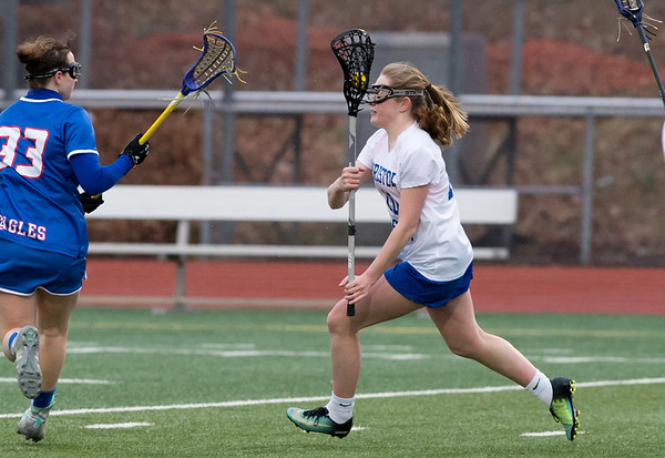 04/08/19 Wesley Bunnell | Staff Bristol Eastern girls lacrosse was defeated at home on Monday night. Kate Kozikaski (10).