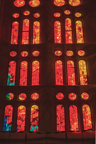 Red stained glass windows