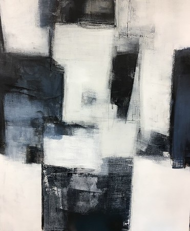 """Black & White 2 - Wallace, 60""""x48"""" painting on canvas"""