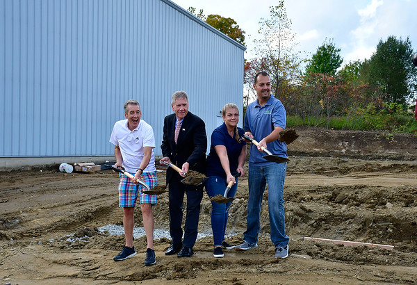 10/10/2018 Mike Orazzi | Staff Matt and Courtney Laukaitis are joined by Tom Hill and Plymouth Mayor Dave Merchant at MPL Solutions in the Plymouth Industrial Park for a ground breaking on Lassy Court.