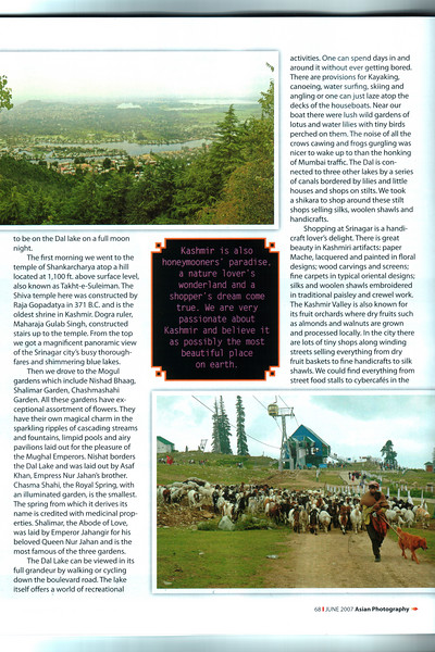 "Asian Photography June 2007  http://www.asianphotographyindia.com/  Travel Feature ""Kashmir - Paradise on Earth"" Article by Anu & Suchit Nanda