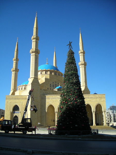Christmas tree in front of a beautiful new mosque at Solidere in Beirut