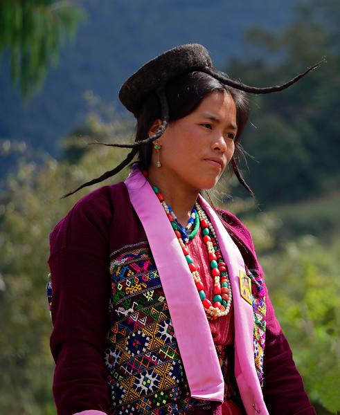 Brokpa dancer with yak hair hat