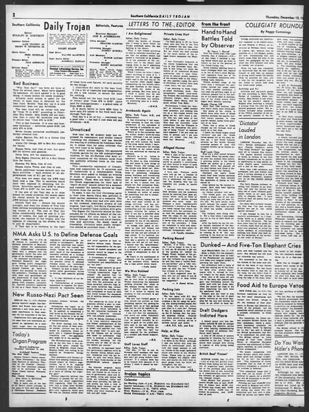 Daily Trojan, Vol. 32, No. 61, December 12, 1940
