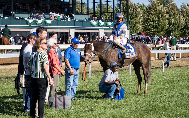"""Spiced Perfection (Smiling Tiger) wins the Thoroughbred Club of America (G2) a """"Win and You're In"""" for the Breeders' Cup Filly and Mare Sprint at Keeneland on 10.05.2019. Javier Castellano up, Peter Miller trainer, Pantofel Stable, Wachtel Stable and Peter Deutsch owners."""