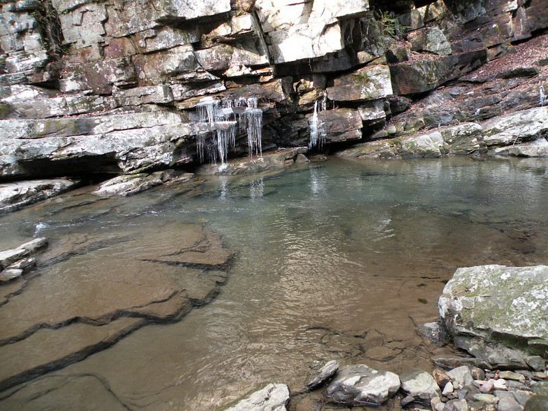 plunge pool and icicles