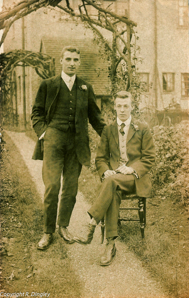 Alf Russell (seated) about 20 with friend.