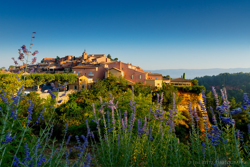 The lovely village of Roussillon in Provence, early morning view.