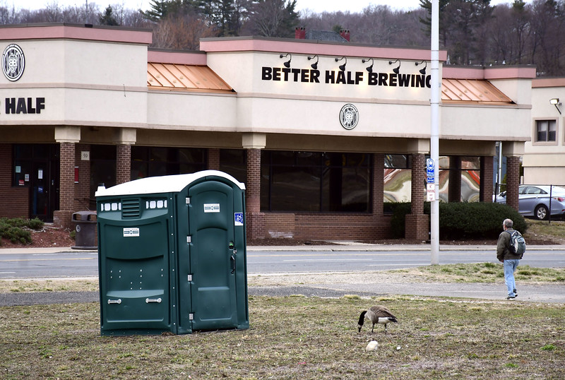 3/18/2020 Mike Orazzi | Staff Bristol has set up portapotties downtown and at Rockwell Park for use by the homeless and the general public.