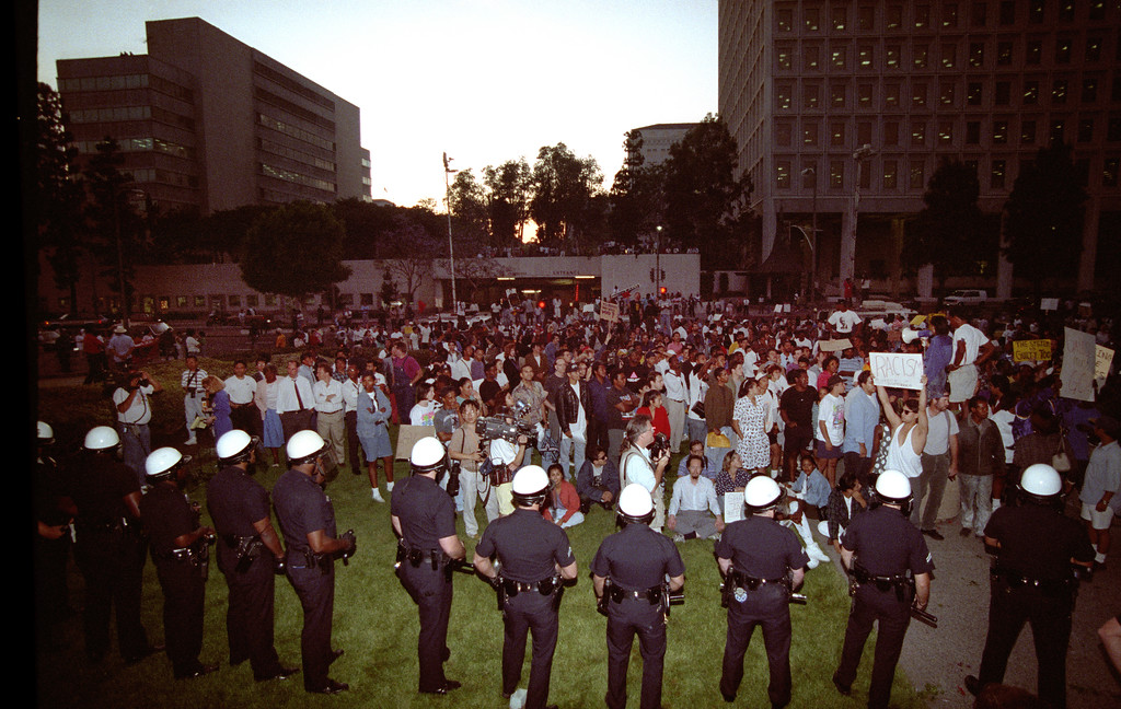 . Police and demonstrators downtown during the 1992 Los Angeles Riots.  (Photo by Gene Blevins/Los Angeles Daily News)
