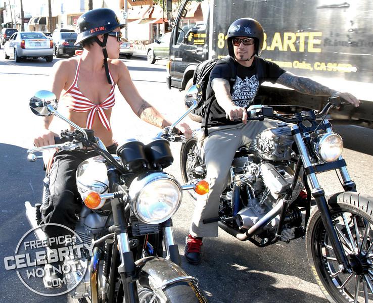 EXCLUSIVE: Pink Rides Her Motorbike Through Los Angeles Wearing a Bikini!