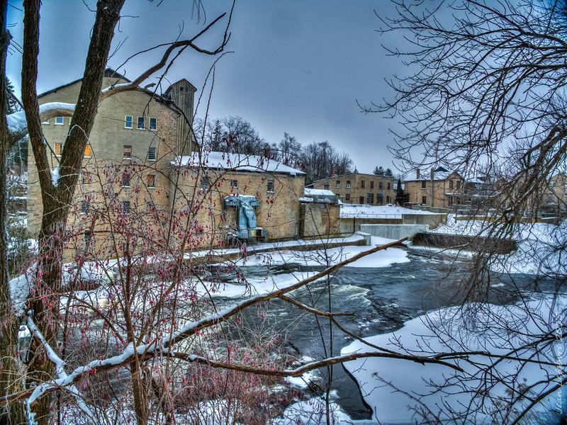 Elora Mill in Winter