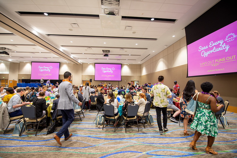 Attendees of the American Advertising Federation's Sun's Out Puns Out Award Ceremony attended a luau party held on the Island campus.