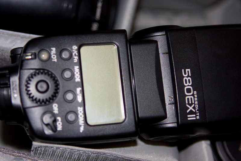 Speedlite 580EX II.  Low Depth-of-Field here :)