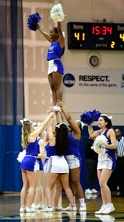 3/2/2019 Mike Orazzi | Staff CCSU Cheerleaders during Saturday's Mens basketball game with Fairleigh Dickinson in New Britain.