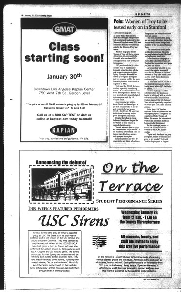 Daily Trojan, Vol. 148, No. 9, January 28, 2003