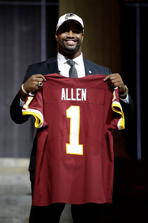 . Alabama\'s Jonathan Allen poses after being selected by the Washington Redskins during the first round of the 2017 NFL football draft, Thursday, April 27, 2017, in Philadelphia. (AP Photo/Matt Rourke)