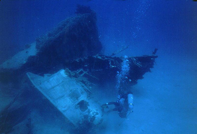 Japanese seaplane sunk off Ebeye, Kwajalein Atoll. April 10, 1980