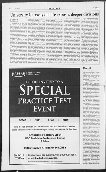 Daily Trojan, Vol. 157, No. 26, February 16, 2006