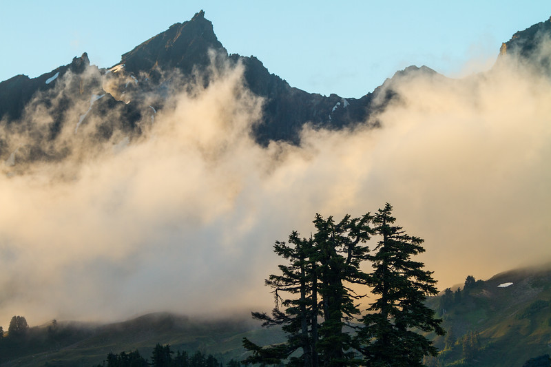 View of fog covered mountains - USA