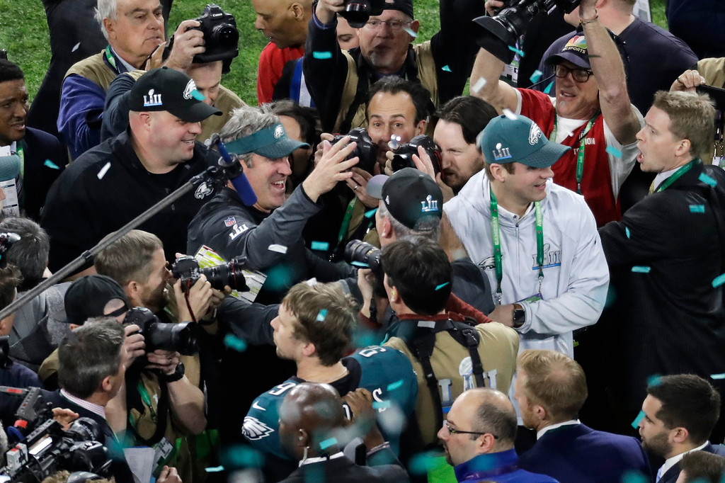 . Philadelphia Eagles head coach Doug Pederson celebrates after the NFL Super Bowl 52 football game against the New England Patriots Sunday, Feb. 4, 2018, in Minneapolis. The Eagles won 41-33. (AP Photo/Eric Gay)