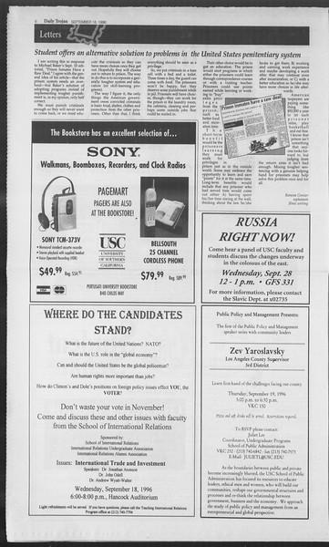 Daily Trojan, Vol. 129, No. 14, September 18, 1996