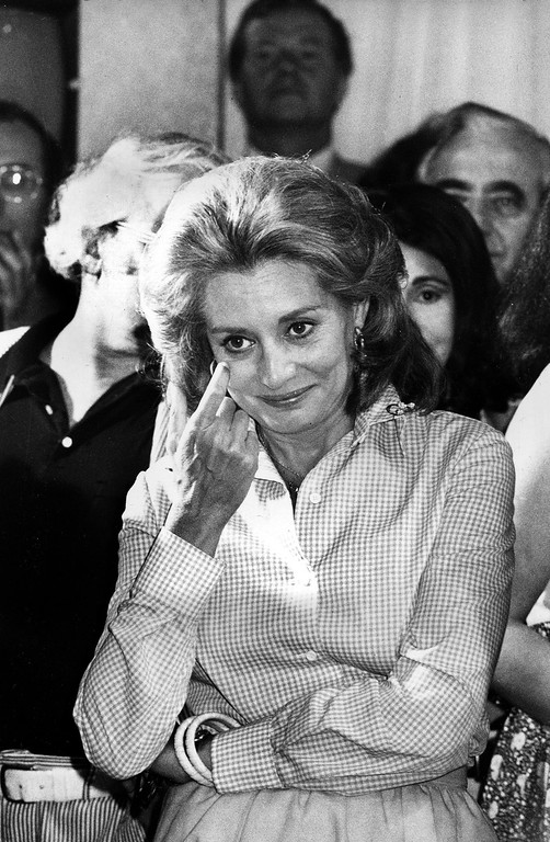 ". FILE - This June 3, 1975 file photo shows Television newswoman Barbara Walters reacting as she addresses staff members from the NBC ""Today\"" show during a farewell party in the studios in New York after her final live appearance on the show. Walters left to join ABC as co-host and anchorwoman of the rival networks\' evening news program. On Friday, May 16, 2014, capping a spectacular half-century run she began as the so-called \""Today\"" Girl, Walters will exit ABC\'s \""The View.\"" Behind the scenes she will remain as an executive producer of the New York-based talk show she created 17 years ago, and make ABC News appearances as events warrant and stories catch her interest. (AP Photo, File)"