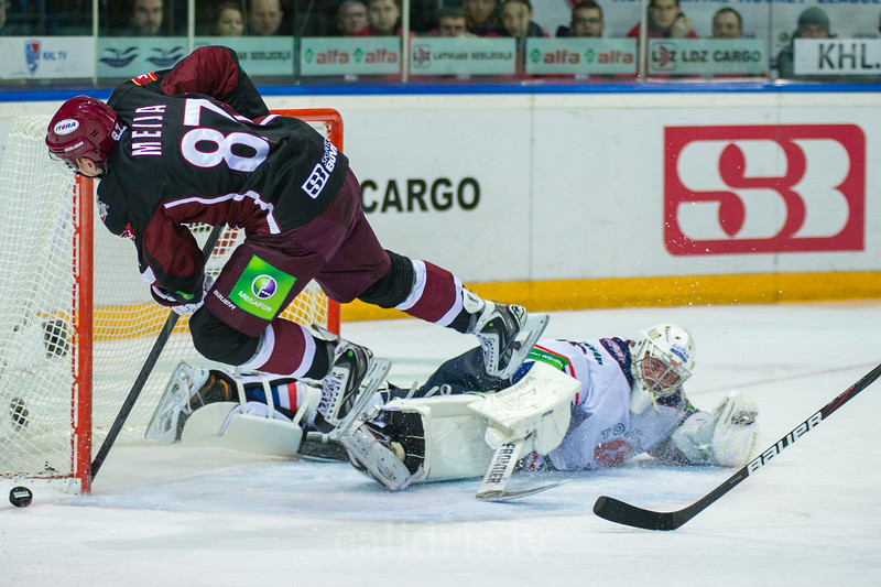 Koval Vitaly (31) saves the goal of Gints Meija (87)