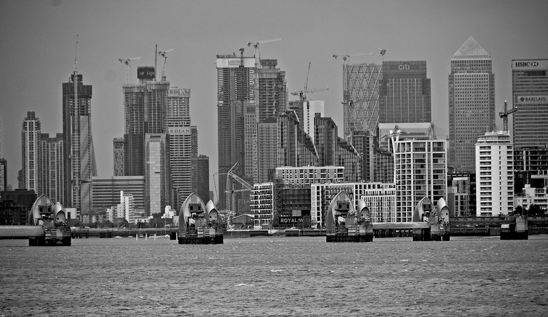 Canary Wharf and Thames Barrier, from Woolwich