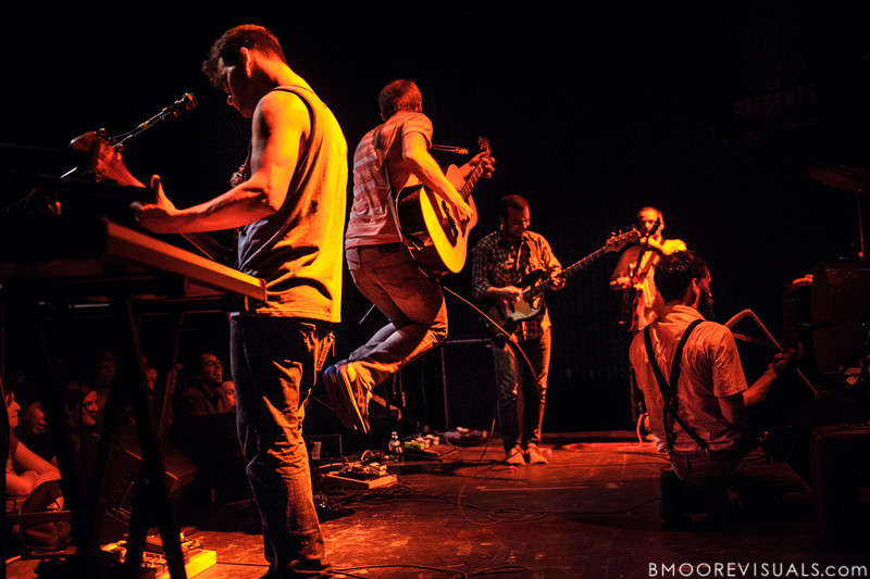 Michael Weiss, Greg Jehanian, Brandon Beaver, and Aaron Weiss of mewithoutYou are joined by Kevin Devine (jumping) on August 8, 2012 in support of Ten Stories at State Theatre in St. Petersburg, Florida